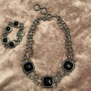 Black Onyx necklace & earrings